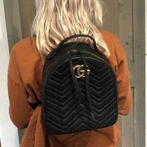 Gucci Marmont Black Leather Backpack with tags